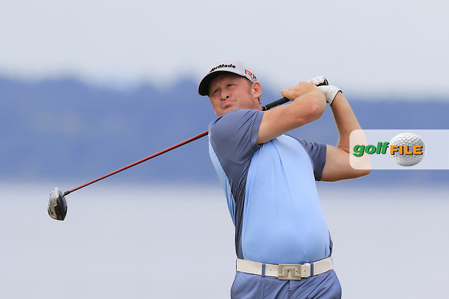 Jamie DONALDSON (WAL) tees off the 18th tee during Thursday's Round 1 of the 2015 U.S. Open 115th National Championship held at Chambers Bay, Seattle, Washington, USA. 6/18/2015.<br /> Picture: Golffile | Eoin Clarke<br /> <br /> <br /> <br /> <br /> All photo usage must carry mandatory copyright credit (&copy; Golffile | Eoin Clarke)