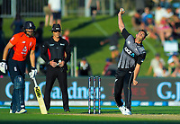 New Zealand captain Tim Southee bowls past England's Dawid Malan during the 4th Twenty20 International cricket match between NZ Black Caps and England at McLean Park in Napier, New Zealand on Friday, 8 November 2019. Photo: Dave Lintott / lintottphoto.co.nz