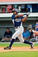Bralin Jackson (5) of the Princeton Rays follows through on his swing against the Burlington Royals at Burlington Athletic Park on July 5, 2013 in Burlington, North Carolina.  The Royals defeated the Rays 5-1 in game one of a doubleheader.  (Brian Westerholt/Four Seam Images)