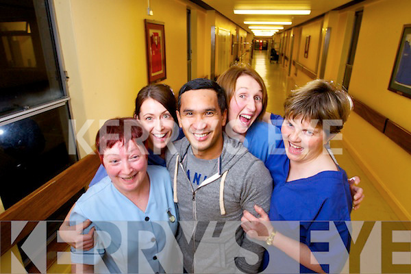 Kerry General Hospital ICU Staff: Joan Downing, Leisha Kennelly, Eileen Flahive and Margaret Griffin congratulate colleague Roel Villnes who is set to appear on the Voice of Ireland next weekend.