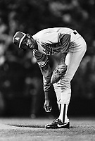Ramon Martinez of the Los Angeles Dodgers during a 1989 pre season game at Anaheim  Stadium in Anaheim,California.(Larry Goren/Four Seam Images)