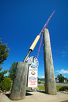 The worlds largest fly rod in the steelhead capital of the world, Houston, British Columbia, Canada