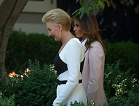 First Lady Agata Kornhauser-Duda of Poland, left, and First Lady Melania Trump, right, of the United States Parive prior to their husbands, US President Donald J. Trump and President Andrzej Duda of the Republic of Poland, conducting a joint press conference in the Rose Garden of the White House in Washington, DC on Wednesday, June 12, 2019. <br /> Credit: Ron Sachs / CNP/AdMedia