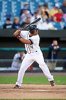 Syracuse Chiefs catcher Pedro Severino (4) at bat during a game against the Louisville Bats on June 6, 2016 at NBT Bank Stadium in Syracuse, New York.  Syracuse defeated Louisville 3-1.  (Mike Janes/Four Seam Images)