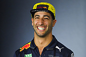 22nd March 2018, Melbourne Grand Prix Circuit, Melbourne, Australia; Melbourne Formula One Grand Prix, Arrivals and Press Conference; Daniel Ricciardo (Australia) of Aston Martin Red Bull Racing smiles during a press conference