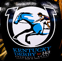 LOUISVILLE, KENTUCKY - MAY 03: A detail view of the logo for the 143rd Kentucky Derby before the Kentucky Derby Draw at Churchill Downs on May 3, 2017 in Louisville, Kentucky. (Photo by Douglas DeFelice/Eclipse Sportswire/Getty Images)