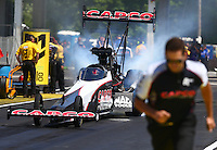May 14, 2016; Commerce, GA, USA; NHRA top fuel driver Pat Dakin during qualifying for the Southern Nationals at Atlanta Dragway. Mandatory Credit: Mark J. Rebilas-USA TODAY Sports
