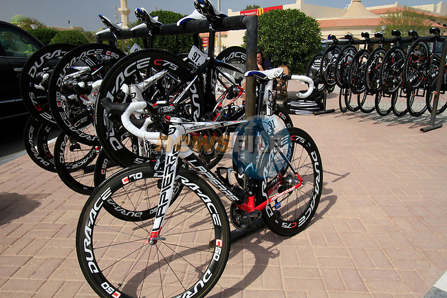 FDJ-BigMat Team bikes lined up before the start of the 3rd Stage of the 2012 Tour of Qatar outside Dukhan Souq, Dukhan, Qatar, 7th February 2012 (Photo Eoin Clarke/Newsfile)