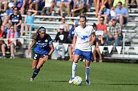 Kansas City, MO - Sunday August 28, 2016: Shea Groom, Whitney Engen during a regular season National Women's Soccer League (NWSL) match between FC Kansas City and the Boston Breakers at Swope Soccer Village.