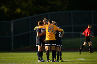 Sky Blue FC goalkeeper Jill Loyden (21) huddles with the defense prior to the start of the match. Sky Blue FC defeated the Washington Spirit 1-0 during a National Women's Soccer League (NWSL) match at Yurcak Field in Piscataway, NJ, on August 3, 2013.