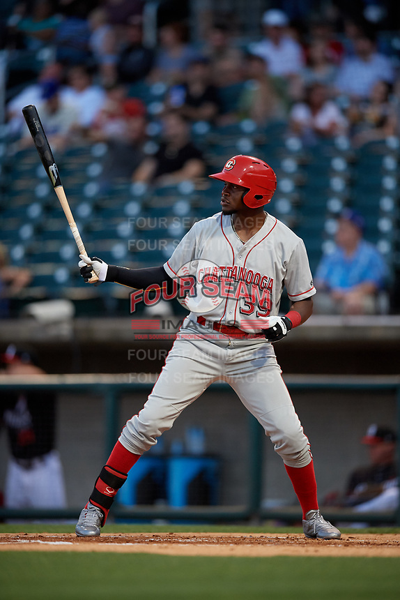 Chattanooga Lookouts Michael Beltre (39) at bat during a Southern League game against the Birmingham Barons on May 2, 2019 at Regions Field in Birmingham, Alabama.  Birmingham defeated Chattanooga 4-2.  (Mike Janes/Four Seam Images)