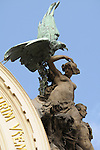 Statue of a woman with an eagle on the Municipal House in Prague, Czech Republic.