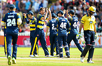 Glamorgan's Michael Hogan celebrates with his teammates after taking the wicket of Birmingham Bears' Grant Elliott<br /> <br /> Photographer Andrew Kearns/CameraSport<br /> <br /> NatWest T20 Blast Semi-Final - Birmingham Bears v Glamorgan - Saturday 2nd September 2017 - Edgbaston, Birmingham<br /> <br /> World Copyright &copy; 2017 CameraSport. All rights reserved. 43 Linden Ave. Countesthorpe. Leicester. England. LE8 5PG - Tel: +44 (0) 116 277 4147 - admin@camerasport.com - www.camerasport.com