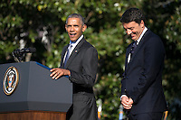 US President Barack Obama (L) and Italian Prime Minister Matteo Renzi (R)participate in an official arrival ceremony on the South Lawn of the White House in Washington DC, USA, 18 October 2016. Later today President Obama and First Lady Michelle Obama will host their final state dinner featuring celebrity chef Mario Batali and singer Gwen Stefani performing after dinner. <br /> Credit: Shawn Thew / Pool via CNP /MediaPunch