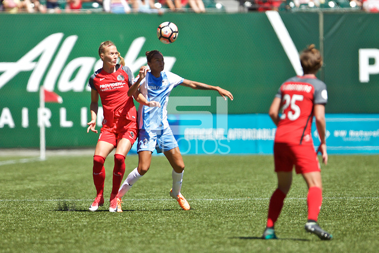 Portland, OR - Saturday August 05, 2017: Dagný Brynjarsdóttir, Poliana Barbosa Medeiros during a regular season National Women's Soccer League (NWSL) match between the Portland Thorns FC and the Houston Dash at Providence Park.