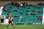 The 79 visiting fans watching the second-half action at Easter Road stadium during the Scottish Championship match between Hibernian and visitors Alloa Athletic. The home team won the game by 3-0, watched by a crowd of 7,774. It was the Edinburgh club's second season in the second tier of Scottish football following their relegation from the Premiership in 2013-14.