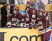 Mike Cavanaugh, Brian Boyle, Benn Ferreiro, Chris Collins, Stephen Gionta - The Boston University Terriers defeated the Boston College Eagles 2-1 in overtime in the March 18, 2006 Hockey East Final at the TD Banknorth Garden in Boston, MA.