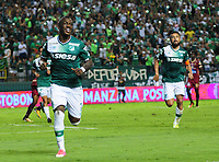 CALI - COLOMBIA - 24 - 09 - 2017: Miguel Murillo, jugador de Deportivo Cali celebra el gol anotado a Deportes Tolima, durante partido de la fecha 13 entre Deportivo Cali y Deportes Tolima, por la Liga Aguila II- 2017, jugado en el estadio Deportivo Cali (Palmaseca) de la ciudad de Cali. / Miguel Murillo, player of Deportivo Cali celebrates a scored goal to Deportes Tolima, during a match of the date 13th between Deportivo Cali and Deportes Tolima, for the Liga Aguila II- 2017 at the Deportivo Cali (Palmaseca) stadium in Cali city. Photo: VizzorImage  / Nelson Rios / Cont.