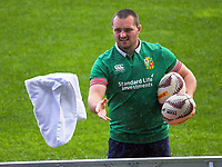 Ken Owens gets passed a towel to dry the balls during the 2017 DHL Lions Series rugby union  British & Irish Lions captain's run at QBE Stadium in Albany New Zealand on Tuesday, 6 June 2017. Photo: Dave Lintott / lintottphoto.co.nz