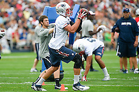 July 24, 2014 - Foxborough, Massachusetts, U.S.- New England Patriots tight end Rob Gronkowski (87) makes a catch during the New England Patriots training camp held at Gillette Stadium in Foxborough Massachusetts. Eric Canha/CSM