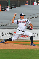 Hung-Wen Chen delivers a pitch at Smokies Park in Sevierville, TN May 21, 2009 (Photo by Tony Farlow/ Four Seam Images)
