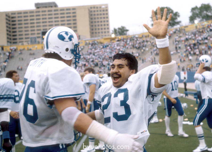 FTB 1984-89.tif<br /> <br /> BYU at Pitt. 76 Brad Smith. 23 Vai Sikahema.<br /> <br /> BYU-20<br /> Pitt-14<br /> <br /> September 1, 1984<br /> <br /> Photo by: Mark Philbrick/BYU<br /> <br /> Copyright BYU PHOTO 2008<br /> All Rights Reserved<br /> 801-422-7322<br /> photo@byu.edu