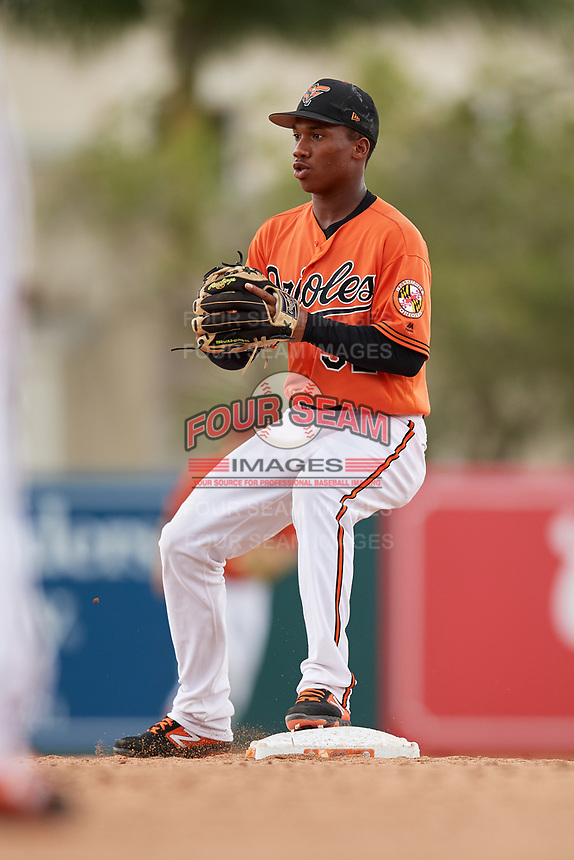 Baltimore Orioles Jean Carmona (52) during a Florida Instructional League game against the Boston Red Sox on October 8, 2018 at the Ed Smith Stadium in Sarasota, Florida.  (Mike Janes/Four Seam Images)