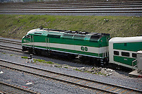 A GO Transit diesel locomotive is seen leaving Union Station in Toronto April 22, 2010. GO Transit (reporting mark GOT) is an interregional public transit system in Southern Ontario, Canada.
