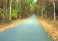 Available from Jeff as a fine art print<br /> <br /> Available for commercial and editorial licensing exclusively from www.gettyimages.com.   Please search for image # 200131268-001<br /> <br /> Rural Road thru Forest, Autumn - Blurred Motion, Stokes State Forest, New Jersey, USA