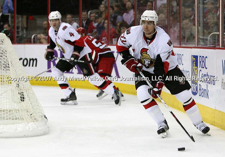 12 December 2007: Ottawa's Chris Kelly. The Ottawa Senators defeated the Carolina Hurricanes 6-0 at the RBC Center in Raleigh, North Carolina in a 2007-08 National Hockey League regular season game.