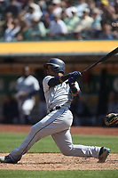 OAKLAND, CA - AUGUST 15:  Jean Segura #2 of the Seattle Mariners bats against the Oakland Athletics during the game at the Oakland Coliseum on Wednesday, August 15, 2018 in Oakland, California. (Photo by Brad Mangin)