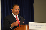 August 25, 2011 (Washington, DC)  Marc Morial, CEO of the National Urban League, speaks at a press conference about plans for the King Memorial Dedication as Hurricane Irene sets a path for the east coast.  (Photo by Don Baxter/Media Images International)