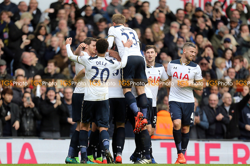 Harry Kane of Tottenham Hotspur is congratulated after scoring the third goal during Tottenham Hotspur vs Stoke City, Premier League Football at White Hart Lane on 26th February 2017