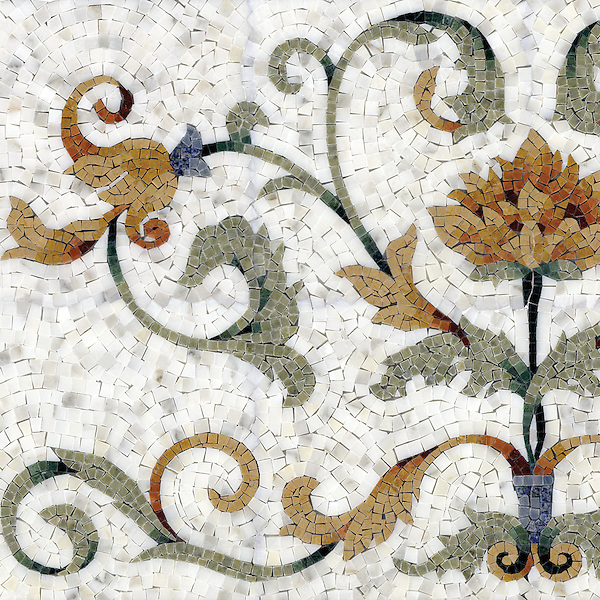 Tamsin, a hand-cut stone mosaic, shown in polished Calacatta Tia, Verde Luna, Verde Alpi, Giallo Reale, Renaissance Bronze, Rosa Verona, Spring Green, Blue Macauba and Blue Bahia. As seen in Veranda.