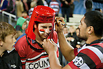 Fritz Lee signs the Counties Manukau own bucket head. ITM Cup rugby game between Counties Manukau and Manawatu played at Bayer Growers Stadium on Saturday August 21st 2010..Counties Manukau won 35 - 14 after leading 14 - 7 at halftime.