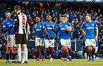 02.02.2019: Rangers v St Mirren: James Tavernier tells Alfredo Morelos once again he is not taking the penalties as he hands the ball to Jermain Defoe even though he is on a potential hat-trick