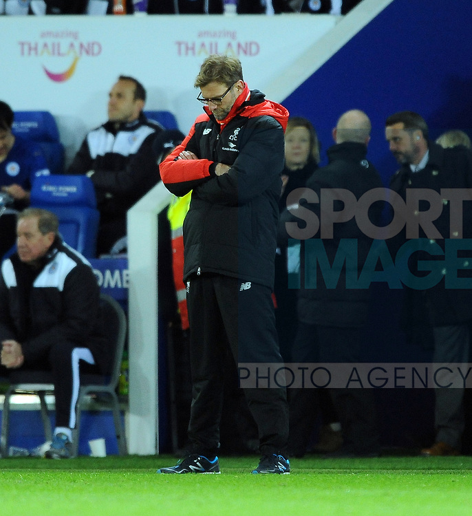 An unhappy Liverpool Manager Jurgen Klopp<br /> - Barclays Premier League - Leicester City vs Liverpool - King Power Stadium - Leicester - England - 2nd February 2016 - Pic Robin Parker/Sportimage