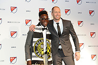 Philadelphia, PA - Thursday January 19, 2018: Gregg Berhalter, Edward Opoku during the 2018 MLS SuperDraft at the Pennsylvania Convention Center.