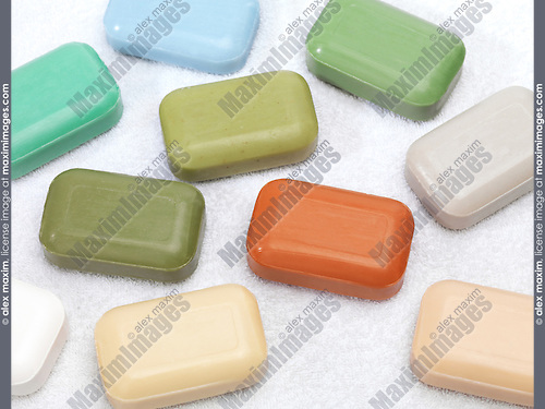 Different color soap bars with healthy natural ingredients