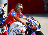 Sep 28, 2013; Madison, IL, USA; NHRA pro stock motorcycle rider Hector Arana Sr during qualifying for the Midwest Nationals at Gateway Motorsports Park. Mandatory Credit: Mark J. Rebilas-