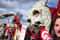 Demonstrators participate in the Put People First rally on Saturday, Mar. 28, 2009 in London, England. Hundreds of organizations marched from Temple to Marble Arch, beginning several days of protests surrounding the G20 summit. (Tina Gao/pressphotointl.com)