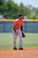 Baltimore Orioles shortstop Alexis Torres (3) during a Minor League Extended Spring Training game against the Tampa Bay Rays on April 17, 2019 at Charlotte County Sports Complex in Port Charlotte, Florida.  (Mike Janes/Four Seam Images)