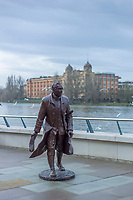 Hammersmith. London. United Kingdom, Lancelot &ldquo;Capability&rdquo; Brown, Statue outside Fulham RC with   &quot;Harrods Village&quot;. William Hunt Mansions, in the back ground,  2018 Men's Head of the River Race.  location Barnes Bridge, Championship Course, Putney to Mortlake. River Thames, <br /> <br /> Sunday   11/03/2018<br /> <br /> [Mandatory Credit:Peter SPURRIER Intersport Images]<br /> <br /> Leica Camera AG  M9 Digital Camera  1/3000 sec. 50 mm f.2 160 ISO.  4.5MB