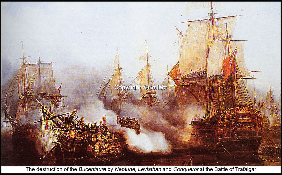 BNPS.co.uk (01202 558833)<br /> Pic: Collect/BNPS<br /> <br /> The destruction of Bucentaure by Neptune, Leviathan and Conqueror at the Battle of Trafalgar.<br /> <br /> A 'lost' Union Jack flown at the Battle of Trafalgar and said to be worth &pound;250,000 has been unearthed by a descendant of a sailor who won it as part of a bet.<br /> <br /> The giant flag, that is peppered with holes from musket balls and splinter fragments, is one of just three from the famous 1805 battle known to exist today.<br /> <br /> It has been kept folded up in a cupboard in the castle home of the family that has owned it for 170 years. It wil be sold next March at Holt's Auctioneers of Norfolk.