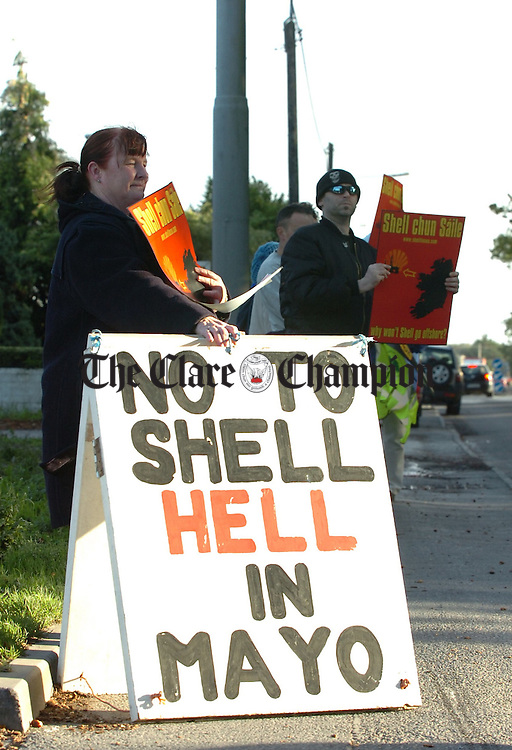 Clare Shell to Sea protestors outside the Shell station on the Clare road Ennis on friday.Pic Arthur Ellis.
