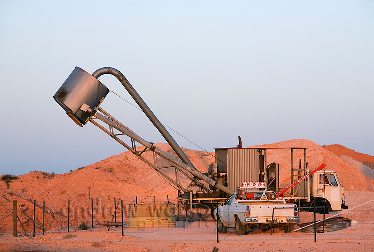 Opal mining machinery at Tom's Working Mine in Coober Pedy, South Australia, AUSTRALIA.