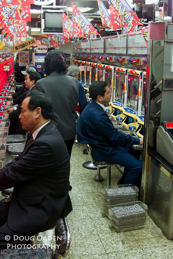 Playing Pachinko, Pachinko Palace, Tokyo, Japan No MR