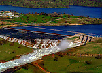 January 3, 1997--Don Pedro Reservoir--After several days of giant warm rain storm, the water level rose above 830 feet at Don Pedro Dam.  Don Pedro Reservoir operations opened the Controlled Spillway. Bonds Flat Road below the spillway was washed out.<br /> Photo by Al Golub/Modesto Bee
