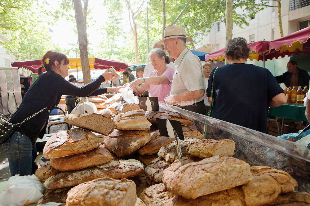 A baker's stall at the Sunday morning produce market, Avenue Samuel de Champlain, Montpellier, France, 15 July 2012