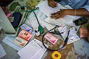 Doctor's desk at the OPD of the National Research Institute of Panchakarma in Cheruthuruthy in Thissur district of Kerala, India.